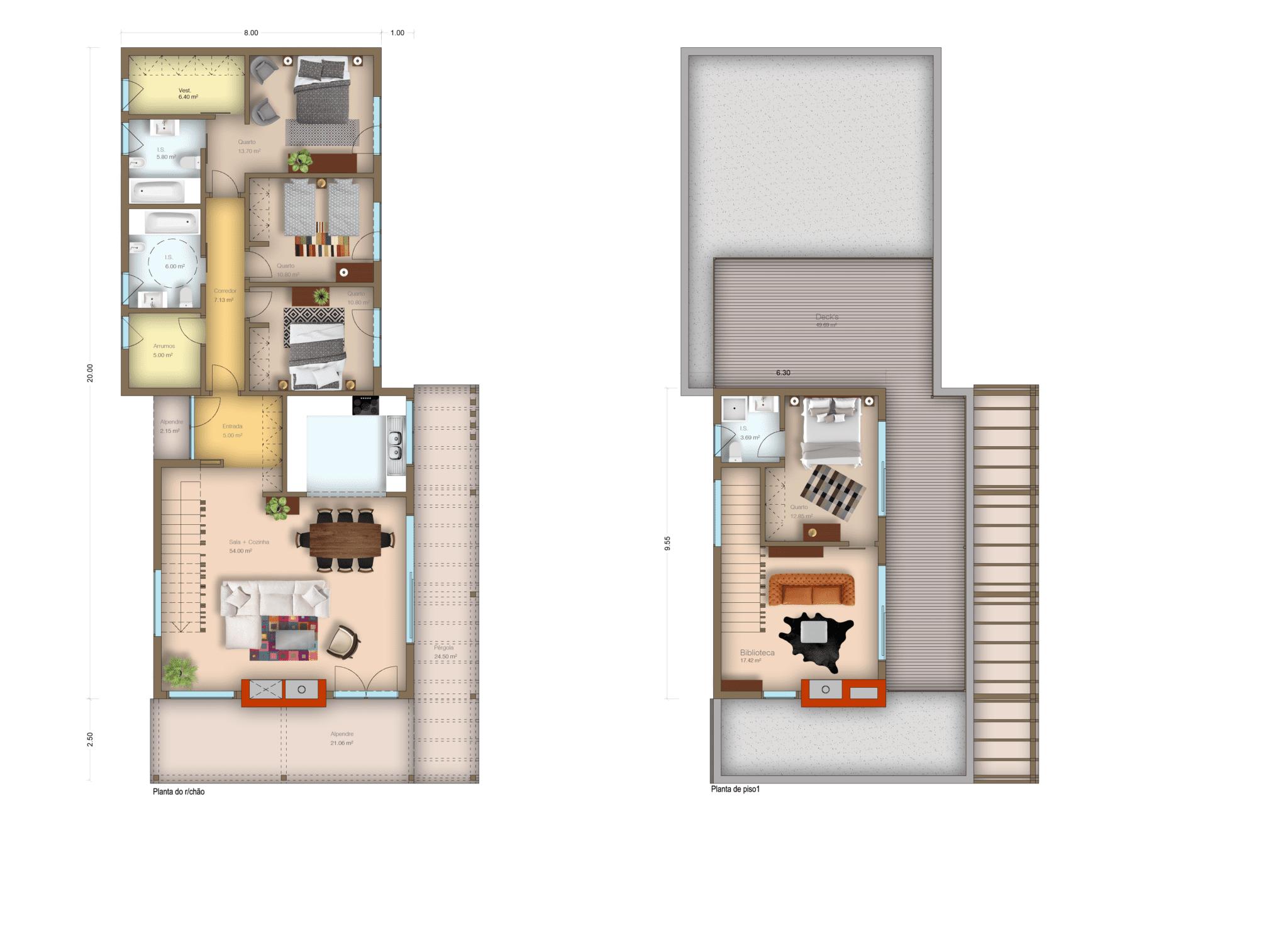 T 4 | RÉS-DO-CHÃO + ANDAR | ÁREA 256 m²